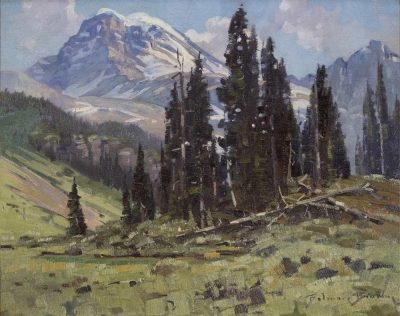Belmore Browne | ON THE TRAIL TO MT. ASSINIBOINE (THE HEADWATERS OF BREWSTER CREEK) | Hammer Price - $ 6,000
