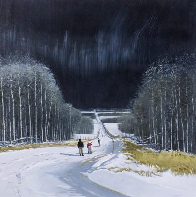 Peter Shostak | TOBOGGANING UNDER THE STARS | Hammer Price - $ 8,000 – A NEW RECORD PRICE FOR THE ARTIST